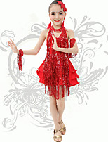 Latin Dance  Children's Performance Spandex Sequins / Tassel(s) V Neck Halter Dresses