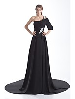 Formal Evening Dress A-line One Shoulder Court Train Chiffon with Appliques / Pleats