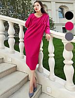 VERRAGEE® Women's Crew Neck Long Sleeve Knee-length Dress