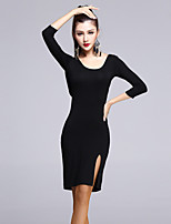 Latin Dance Women's Outfits 2 Pieces(Dress+Belt) Modal Split Front Black Backless 3/4 Length Sleeve