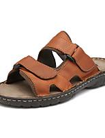 Zapatos de Hombre-Sandalias-Exterior / Casual / Laboral-Cuero-Negro / Marrón / Caqui