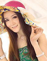 Foldable Bow Visor Prints Casual Beach Holiday Sun Straw Hat
