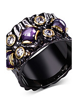 Europe style design Cubic Zirconia Ring 18K Gold & Black Plated Special Party cocktail Rings for women Copper  rings