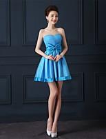 Short/Mini Tulle Bridesmaid Dress-Ocean Blue A-line Sweetheart