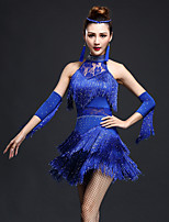 Latin Dance Dresses Women's Performance Chinlon / Nylon Irregular Rhinestones / Tassel(s) 3 Pieces Dnce Costumes
