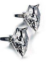 Men's Fashion Wolf Style Silver Alloy French Shirt Cufflinks (1-Pair)