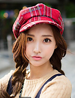 Retro British Style Sstitching Color Plaid Pattern Reported Bonnet Octagonal Cap