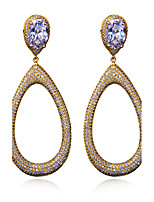 Beautiful Fashion Accessories Jewelry Earrings 18K Gold and Platinum Plated Cubic Zirconia Party Big Drop Earrings