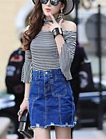Women's Striped Gray T-shirt,Boat Neck ¾ Sleeve