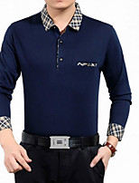 Men's Fashion Slim Plaid Collar Long Sleeved Cotton Polo Shirts,Cotton / Polyester Casual / Plus Sizes Plaids