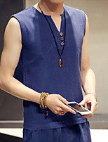 Summer Men Fashion Casual Linen Flax Material Solid Color Sleeveless Vest T-Shirt
