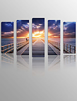 Pier and Corridor on Canvas wood Framed 5 Panels Ready to hang for Living Decor