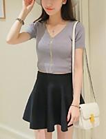 Women's Solid White / Black / Gray Cardigan,Street chic Short Sleeve