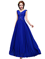 Formal Evening Dress A-line V-neck Floor-length Stretch Satin with Pearl Detailing