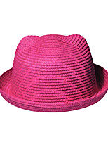Women Orecchiette Cute Straw Bear Beach Casual Pure Color Hat