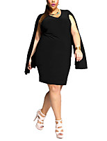 Women's Party/Cocktail / Plus Size Simple Bodycon Dress,Solid V Neck Knee-length Long Sleeve Red / White / Black Polyester Summer