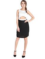 Haoduoyi® Women's Midriff Round Neck Sleeveless Above Knee Dress (Black and White)-15151G663