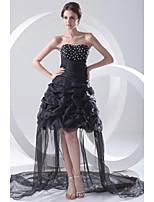 Aライン カクテルパーティー ドレス ブラック オーガンザ ストラップレス アシメントリー