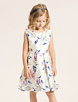 Girl's Casual/Daily Floral Dress,Cotton / Polyester Summer / Spring Blue / Pink