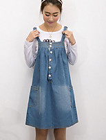 Women's Simple / Street chic Solid Plus Size Loose / Denim Suspender Dress,Strap Above Knee