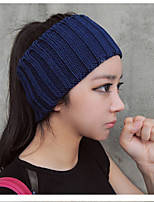 Autumn And Winter Fashion Personality Pure Color Knit Wool Empty Top Hat Yoga Headband