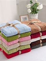 Multicolor Solid Knitted Blanket Full Cotton 70