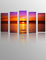 Sunset Glow by lake on Canvas wood Framed 5 Panels Ready to hang for Living Decor