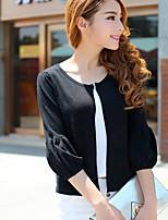 Women's Solid Black Cardigan,Street chic ¾ Sleeve