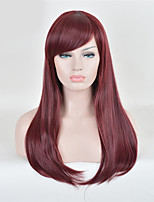 Long Fuxia Color Straight Cosplay Wigs European Synthetic Wig