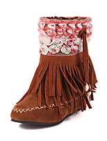 Women's Shoes Wedge Heel Fashion Boots / Round Toe Boots Dress / Casual Black / Red / Camel / Beige