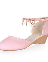 Women's Shoes Leatherette Wedge Heel Wedges Heels Wedding / Party & Evening / Dress / Casual Black / Pink