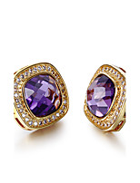 New Marriage Square Shape 18K Gold plated 4 colors Cubic zircon Pave setting Stud earrings for women