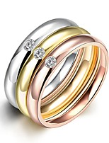 lureme® Classic Tricolor Stainless Steel with Zircons Womens Girls High Polished Rings 3 Pcs A Set