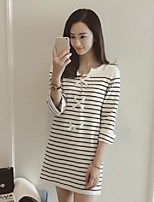 Women's Striped White Pullover,Street chic ¾ Sleeve