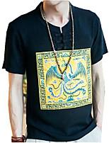 Print-Informeel-Heren-Linnen-T-shirt-Korte mouw Zwart / Wit