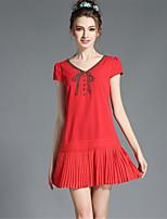 Women's Vintage Fashion Plus Size Bead Patchwork Pleat Solid Simple Dress