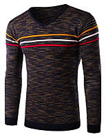 Men's Casual Slim Striped Pullover,Cotton / Polyester Long Sleeve