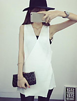 Women's Solid White / Black / Gray Pullover,Street chic Sleeveless