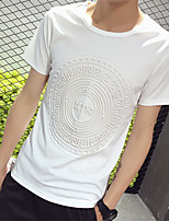 Fashion Tops Men Casual T-shirt Circular Surround Teen Design Men Cotton Round Neck Short Sleeve