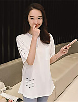 Women's Solid White / Black / Gray T-shirt,Round Neck ½ Length Sleeve