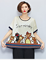 Women's Casual/Daily Cute Summer Blouse,Animal Print Round Neck Short Sleeve Beige Cotton Thin