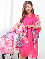 Fashion Chiffon Scarves Printing Brightly Flowers Long Paragraph Sunscreen Scarf