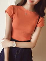 Women's Solid Pink / White / Black / Orange / Yellow Pullover,Street chic Short Sleeve