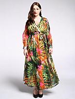 Women's Plus Size Boho Chiffon Swing Dress,Print Deep V Maxi Long Sleeve Polyester Summer Fall High Rise Micro-elastic Medium