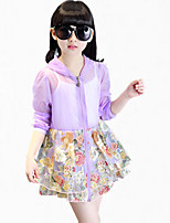 Girl's Purple / Yellow Trench Coat,Floral Polyester Summer / Spring / Fall