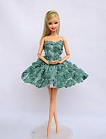 Poupée Barbie-Vert clair-Déguisements thème film & TV-Robes- enToile / Satin Stretch