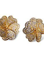 Beautiful Flowers Shape Design Stud Earrings 18K Gold and Platinum Plated Cubic Zircon Wedding Earring Jewelery