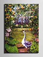 E-HOME® The Goose In The Garden Clock in Canvas 1pcs