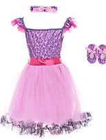 3PCS Girl's Purple Dress,Floral Polyester Summer / Spring / Fall