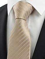 KissTies Men's Striped Khaki Beige Apricot Tie Wedding Work Casual Necktie With Gift Box